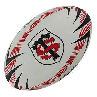 Balón de rugby hincha STADE TOULOUSAIN T.5 negro/rojo
