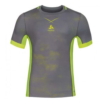 Maillot MC homme SMART CERAMICOOL odlo steel grey/safety yellow