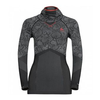 Sous-couche ML à capuche femme BC EVOLUTION WARM black/odlo concrete grey/hot coral
