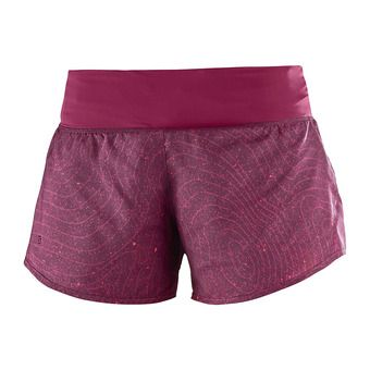 Short femme ELEVATE fig/beet red/fusion