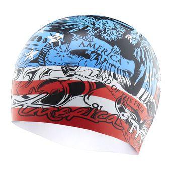 Bonnet de bain HOME OF THE BRAVE red/white/blue