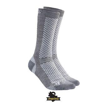 Lot de 2 paires de chaussettes mi-hautes WARM granite/plat