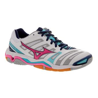 Zapatillas indoor mujer WAVE STEALTH 4 white/pink glo/blue radiance