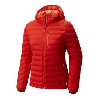 StretchDown Hooded Jacket FEMME Fiery Red