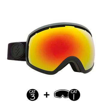 Masque de ski EG2 matte black/brose-red chrome + light green - 2 écrans
