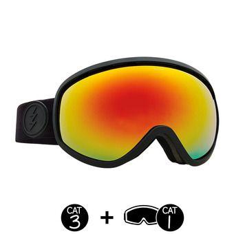 Masque de ski MASHER matte black/brose-red chrome + light green - 2 écrans