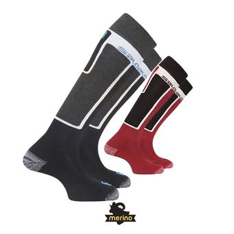 Lot de 2 paires de chaussettes de ski ELIOS black/red