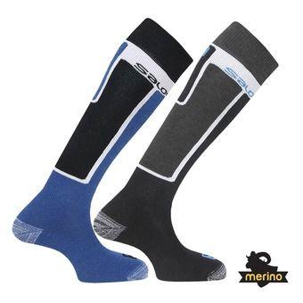 Lot de 2 paires de chaussettes de ski ELIOS black/blue
