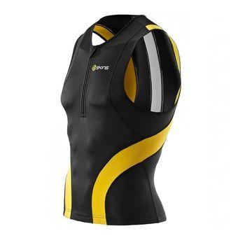Débardeur de compression 1/2 zip TRI400 black/yellow