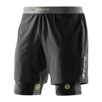 Short 2 en 1 de compression homme DNAMIC black/citron