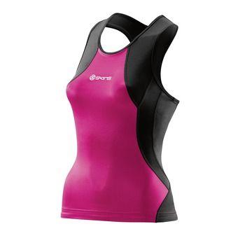 Camiseta de tirantes de triatlón mujer TRI400 black/pink
