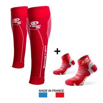 Manchons de compression BOOSTER ELITE rouge + Socquettes LIGHT ONE rouge