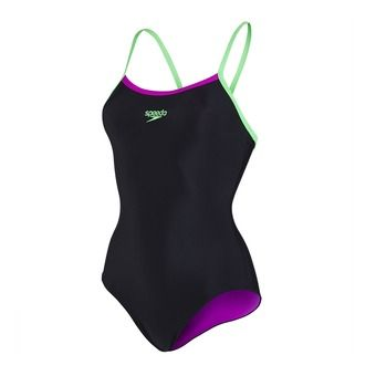 Maillot femme THINSTRAP MUSCLEBACK black/fluo green/diva