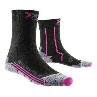 Chaussettes de randonnée femme DOUBLE ACTION MID anthracite / fushia