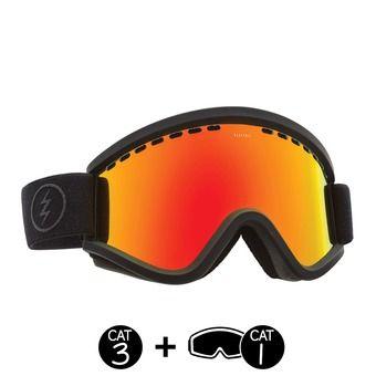 Masque de ski femme EGV matte black/brose red chrome+light green - 2 écrans