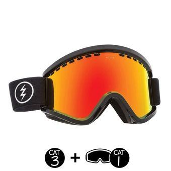 Masque de ski femme EGV gloss black/brose red chrome+light green - 2 écrans