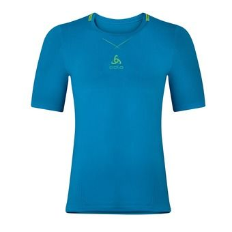 Maillot MC homme CERAMICOOL SEAMLESS blue jewel/safety yellow