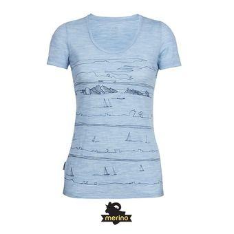 Camiseta mujer TECH LITE SCOOP porto isle/mist blue hthr