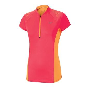 Maillot MC 1/2 zip femme MUJIN diva pink/orange pop