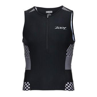 Camiseta de tirantes de triatlón hombre PERFORMANCE silver/checkers