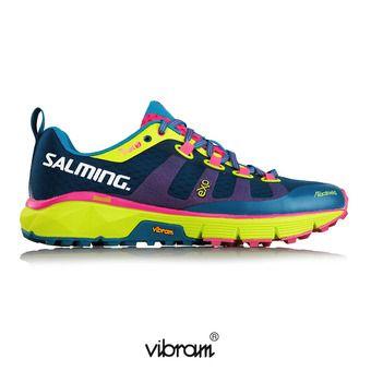Zapatillas trail mujer TRAIL T5 azul/flúor/amarillo
