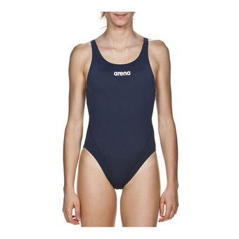 Arena SOLID SWIM TECH HIGH - 1-Piece Swimsuit - Women's - navy/white
