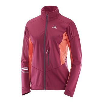 Chaqueta softshell mujer LIGHTNING SSHELL  beet red/fluo cor