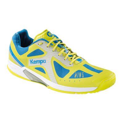 Kempa Wing, Chaussures de Handball Homme, Bleu (Bleu Cendré/Jaune Spring), 45 EU