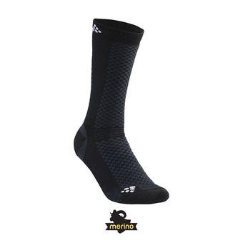 Lot de 2 paires de chaussettes mi-hautes WARM noir/blanc