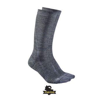 Paire de chaussettes mi-hautes WARM granite/plat