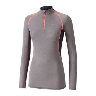 LS Jersey - 1/2 Zip - Women's - WOOL fine grey/ coral