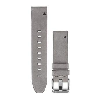 Bracelet cuir QUICKFIT pour montre GPS Fenix 5S gris