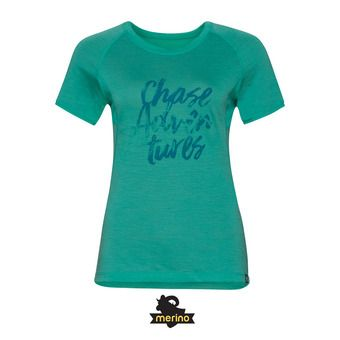 Tee-shirt MC femme KOYA CERAMI-WOOL 18 pool green/placed print