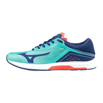 Mizuno WAVE SONIC - Running Shoes - Women's - turquoise bluedept/fcora