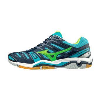 Chaussures de handball homme WAVE STEALTH 4 blue/green/blue