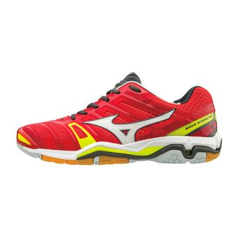 Zapatillas de balonmano hombre WAVE STEALTH 4 red/white/yellow