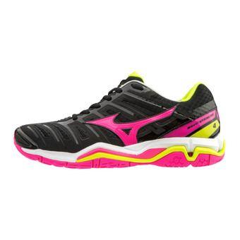 Mizuno WAVE STEALTH 4 - Handball Shoes - Women's - black/pinkglo/yellow