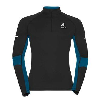 Sweat 1/2 zip homme OMNIUS black/mykonos blue