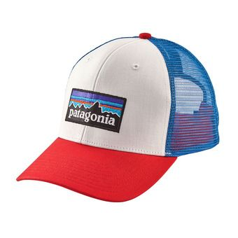 Patagonia P-6 LOGO - Casquette white/fire/andes blue