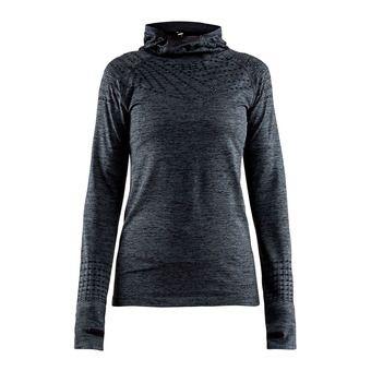 Sweat à capuche femme CORE 2.0 noir chiné