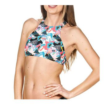 Haut de maillot femme CROP THINK black/multi