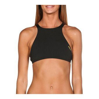 Arena CROP THINK - Haut maillot de bain Femme black/yellow star