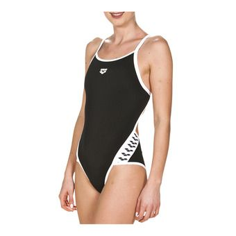 Arena TEAM STRIPE SUPER FLY BACK - 1-Piece Swimsuit - Women's - black/white