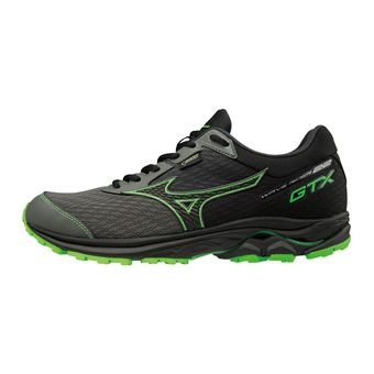 Mizuno WAVE RIDER GTX - Running Shoes - Men's - gunmetal/black/green slime