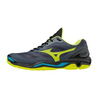 Mizuno WAVE STEALTH V - Chaussures hand Homme ombre blue/safety yellow/black