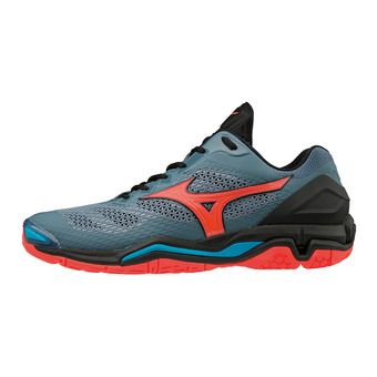 Mizuno WAVE STEALTH V - Zapatillas de balonmano mujer blue mirage/fiery coral/black