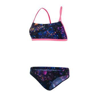 Bikini mujer DIAMONDIZE CROSSBACK black/bubblegum pinkk
