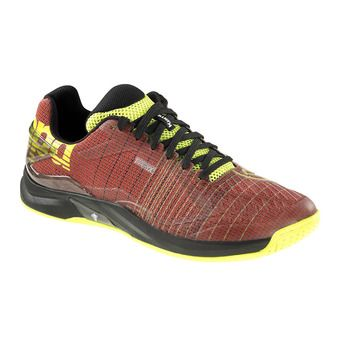 Chaussures handball homme ATTACK TWO CONTENDER rouge tomate/noir/jaune fluo