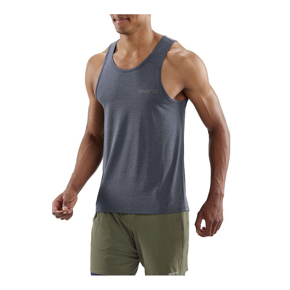 76cddc5f6fbb8 ... SKINS Activewear Bergmar Mens Active Singlet Top Navy Blue Marle Homme  Navy Blue Marle