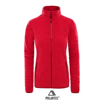 The North Face 100 GLACIER - Polar mujer rumba red/cerise pink stripe